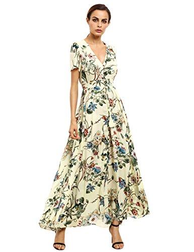 9f0e51bd5da Milumia Women s Button Up Split Floral Print Flowy Party Maxi Dress Yellow  XS