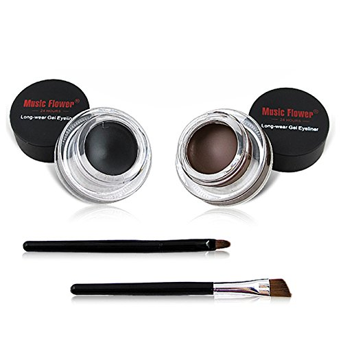 2 in 1Black and Brown Gel Eyeliner Set Water Proof Smudge Proof, Last for All Day Long, Work Great with Eyebrow, 2 Pieces Eye Makeup Brushes Included | Amazon Reviews | Cool gadgets | Ideas | Products | Makeup | Fashion | Beauty | Fashion Tricks